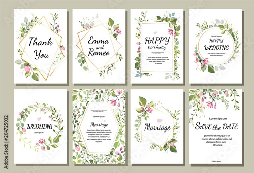 botanic card with wild flowers, leaves. Spring ornament concept. Floral poster, invite. Vector layout decorative greeting card or invitation design background. Hand drawn illustration - 204725032