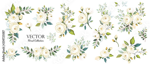 Set of floral branch. Flower white rose, green leaves. Wedding concept. Floral poster, invite. Vector arrangements for greeting card or invitation design background - 204725087