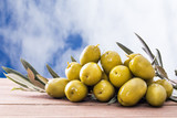 olives on wood with background - 204725407