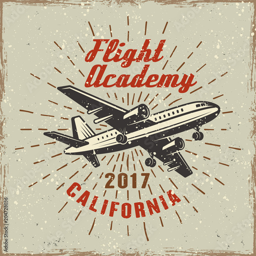 Canvas Vintage Poster Airplane label for flying academy illustration