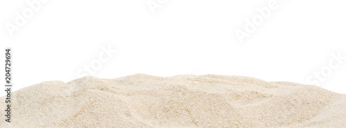 Pile dry sand isolated on white.