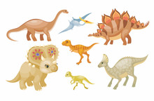 Dinosaurs  Set Colorful Illustrations    Sticker