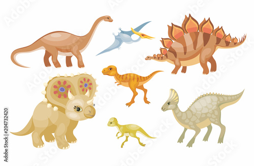 Fototapeta Dinosaurs vector set. Colorful illustrations isolated on a white background.