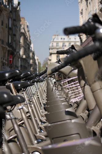 Fridge magnet Row of rental bikes in Paris, France
