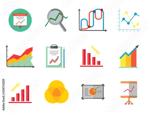 Miraculous Graph Icon Set Magnifier And Graph Growing Bar Chart Declining Bar Wiring Digital Resources Jonipongeslowmaporg