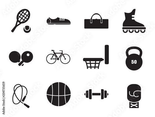 Gym vector icons set with biceps, barbell and kettlebell. Thirteen simple icons