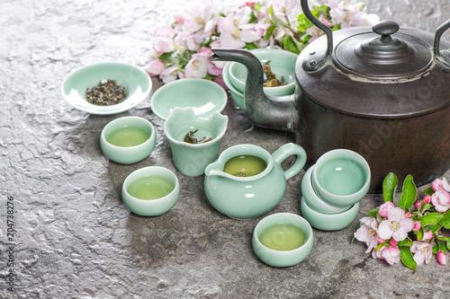 Czajniki teapot Tradycyjna chińska ceremonia herbaty Asia style stil life