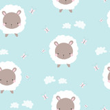 Cute white sheep seamless pattern. Childish print. Vector hand drawn illustration. - 204738637