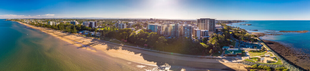 BRISBANE, AUS - MAY 13 2018: Panoramic aerial image of Sutton Beach area, taken by the drone. © Martin Valigursky