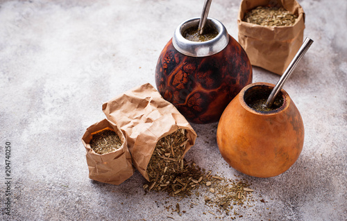Fototapeta Yerba mate tea with calabash and bombilla
