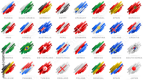 Piłka nożna 2018 flagi flagi uczestników krajów