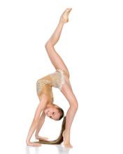 The Gymnast Performs A Bridge  A Raised Leg Sticker