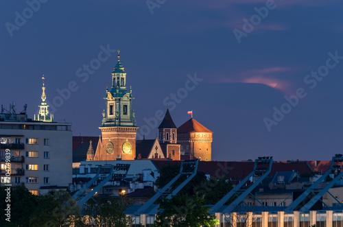Aluminium Krakau Wawel castle in the night, Krakow, Poland