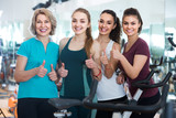 females posing in aerobic class for women - 204760449