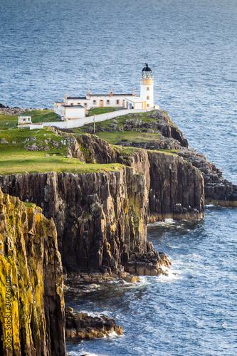 Fotobehang Vuurtoren Lighthouse at Neist Point, Isle Of Skye, Scotland, UK