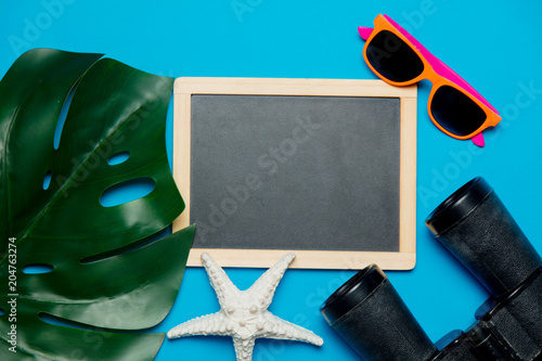 blackboard and palm leaf,binoculars and sunglasses. Objects isolated on blue background
