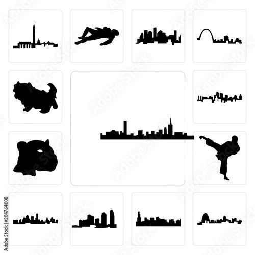 Set Of Boston Skyline On White Background Missouri Chicago