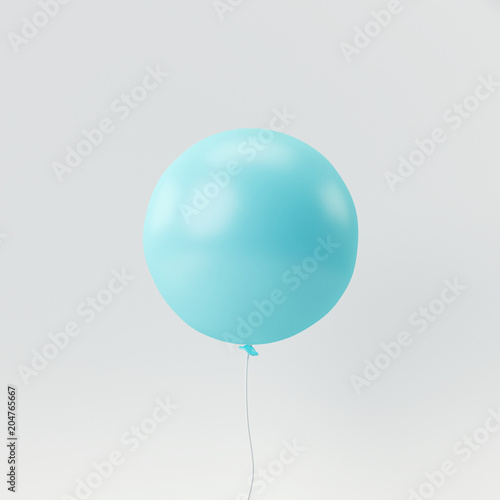 Blue balloon on white background. minimal concept. © aanbetta