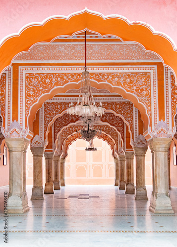 Poster Jaipur city palace in Jaipur city, Rajasthan, India. An UNESCO world heritage know as beautiful pink color architectural elements. A famous destination in India.