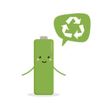 Cute cartoon battery character giving advice to recycle used batteries. - 204766664