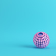 Abstract segmented pink sphere on bright blue background in pastel colors