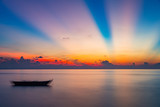 Colorful sunrise over ocean on Maldives - 204773461
