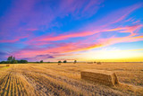 Autumn farmland landscape at sunset