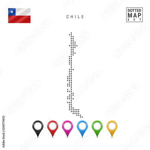 Vector Dotted Map of Chile. Simple Silhouette of Chile. The National on