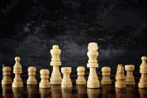 Image of chess board game. Business, competition, strategy, leadership and success concept. © tomertu