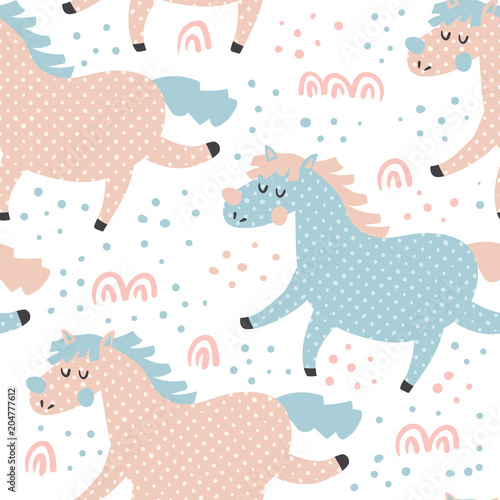 Cotton fabric horse pattern