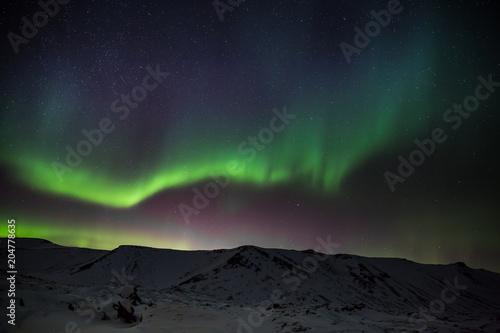 Canvas Noorderlicht Polarlicht - Aurora borealis über Island