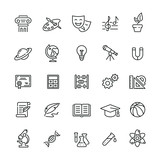 Fototapety School subjects related icons: thin vector icon set, black and white kit