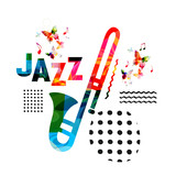 Music colorful background with trumpet vector illustration design. Music festival poster, creative trumpet design with word jazz. Typographic banner