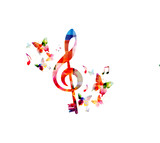 Music colorful background with G-clef and music notes vector illustration design. Music festival poster, creative music notes isolated - 204783297