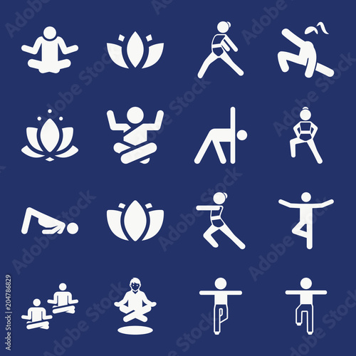 Poster Set of 16 yoga filled icons