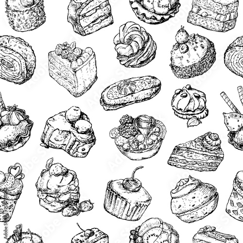 Materiał do szycia Seamless background of the various cakes sketches