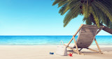 Deck chair on the beach under palm tree summer background 3D Rendering