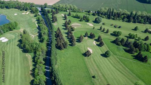 Plexiglas Olijf Drone view of a golf course