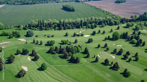 Fotobehang Olijf Drone view of a golf course