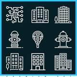 Set of 9 city outline icons