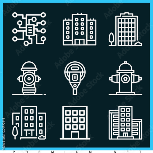 Poster Set of 9 city outline icons