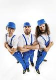 Fisheye portrait of three craftsmen - 204799288