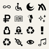 Set of 16 symbols filled icons - 204801443