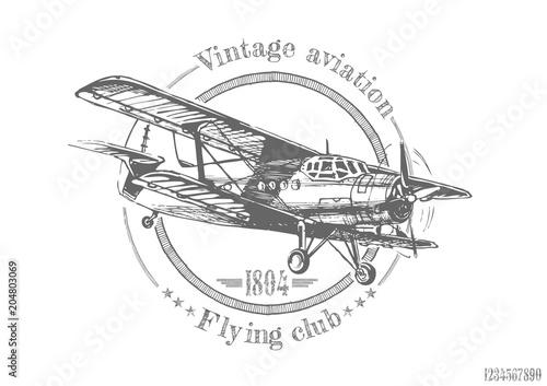 Canvas Vintage Poster illustration of vintage Biplane