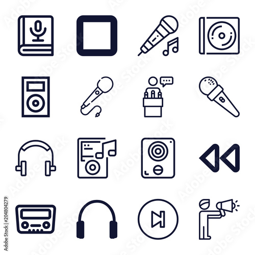Fotobehang Muziek Set of 16 music outline icons