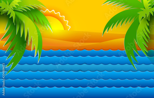 Paper art cut out style summer landscape with sea waves, sand and palms. Retro vector illustration. Sun, mountains. Tropic nature background.