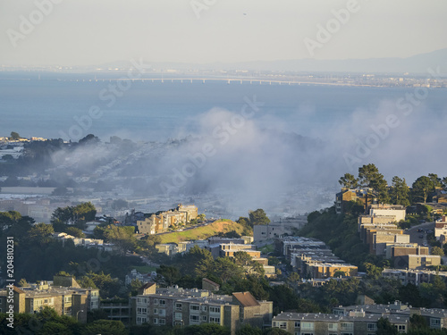 Fotobehang San Francisco Beautiful aerial view from the famous Twin Peak