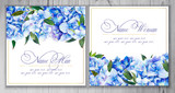 Set of templates for greetings or invitations to the wedding.  Illustration by markers, beautiful composition of hydrangea and leaves. Imitation of watercolor drawing. - 204811450