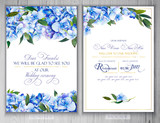 Set of templates for greetings or invitations to the wedding.  Illustration by markers, beautiful composition of hydrangea and leaves. Imitation of watercolor drawing. - 204811886