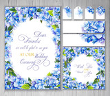 Set of templates for greetings or invitations to the wedding. Blue hydrangea. Illustration by markers: invitation card, letterhead, numbering for tables, tags. Imitation of watercolor drawing. - 204812820